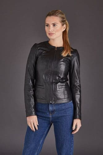 Black Leather Jacket Ladies :Chenel